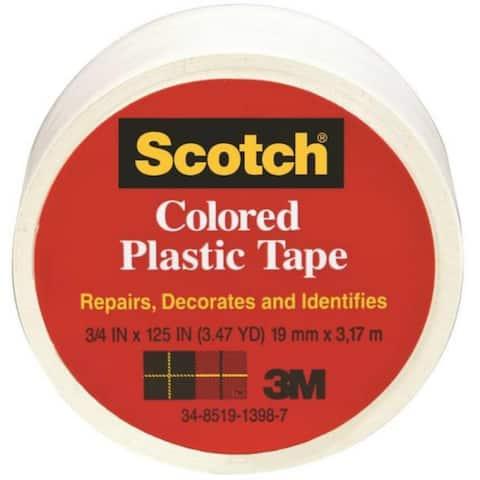 """Scotch 191WT Colored Plastic Tape, 1-1/2"""" x 125"""", White"""