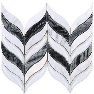 TileGen. Leaf Random Sized Marble Mix Glass Mosaic Tile in White/Gray Wall Tile (10 sheets/7sqft.)