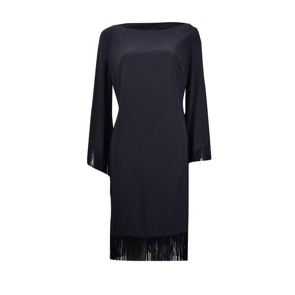 R&M Richards Women\'s Plus Size Fringe Trim Boat Neck Shift Dress - Black -  16W