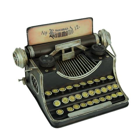 Black Vintage Finish Tin Antique Typewriter Coin Bank - 6.25 X 10.25 X 7.25 inches