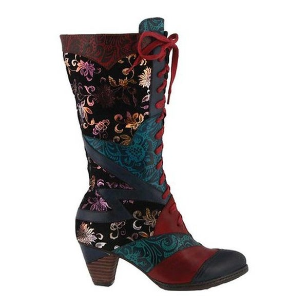 Malagie Lace Up Boot Blue Multi Leather