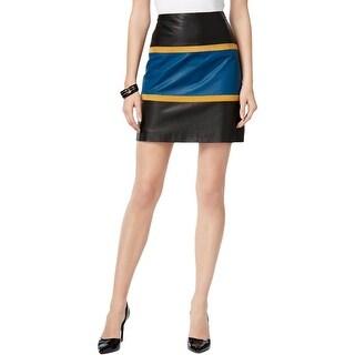 Anne Klein Womens Mini Skirt Leather Colorblock