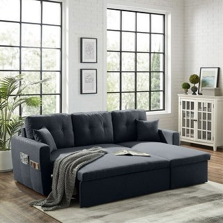 "86.6"" Reversible Sofa-Bed with Storage Sleeper Sectional  Couch"