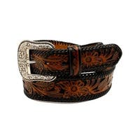 Ariat Western Belt Mens Leather Pierced Underlay Laced