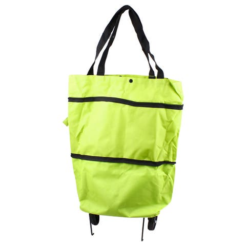 """Two Pull Wheels 18.5"""" x 15"""" Reusable Recycle Portable Shopping Trolley Bag Green"""