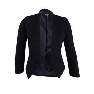 Nine West Women's Striped Open-Front Blazer - Black/Grey