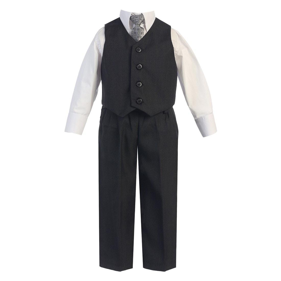 Angels Garment Little Boys Black Slim Fit Jacket Pants Vest Shirt Tie Suit 2-7