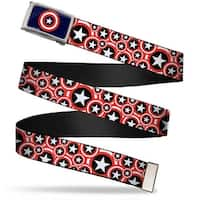 Marvel Comics Captain America Shield Fcg Navy Chrome Captain America Web Belt