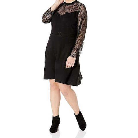 City Chic Women's Dress Black Size 22 Plus Sheath Lace Sheer Crewneck