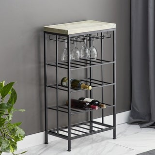 Link to Rustic 36 x 19 Inch Iron and Wood 4-Tiered Wine Storage by Studio 350 Similar Items in Kitchen Storage