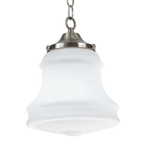 """Park Harbor PHPL5411 9"""" Wide Single Light Mini Pendant with Schoolhouse Style Shade - Brushed nickel"""
