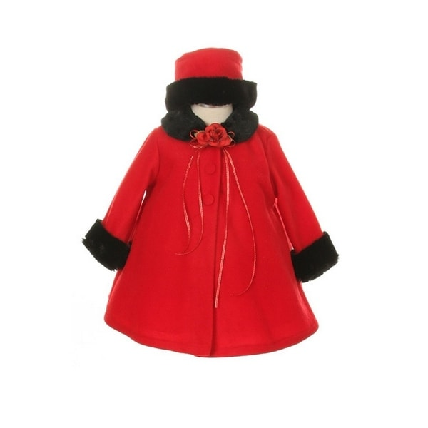 Kids Dream Red Fleece Faux Fur Collar Stylish Coat Baby Girl 6-24M