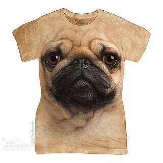 The Mountain Cotton Pug Face Design Novelty Womens T-Shirt
