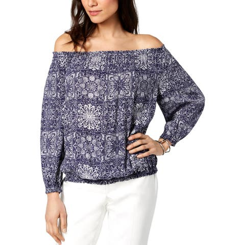 Tommy Hilfiger Womens Blouse Printed Off-The-Shoulder