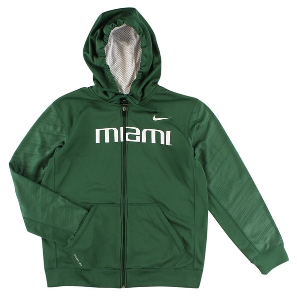 da92c21045c4 Shop Nike Mens Miami Hurricanes College Warp Knockout Full Zip Hoodie Green  - Green White - M - Free Shipping Today - Overstock - 22545078