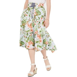 Tommy Hilfiger Womens Orchidea Midi Skirt Striped Lace-Up - Multi Floral