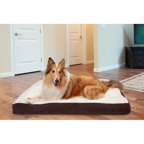 FurHaven Pet Bed Faux Sheepskin & Suede Deluxe Pillow Dog Bed