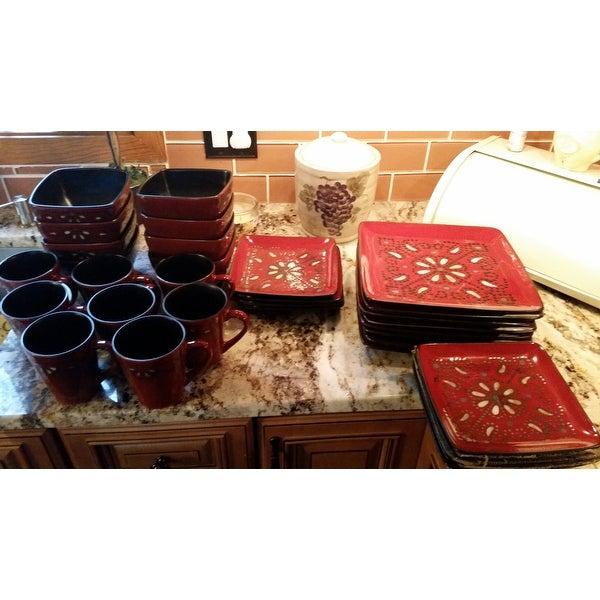 Shop American Atelier Marquee Red 16 Piece Dinnerware Set - Free ...