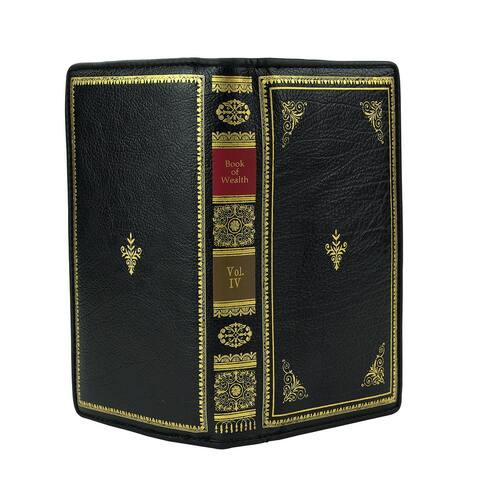 Sleepyville Critters Women's Book of Wealth Zip Around Wallet - Vegan Leather Vintage Look - Black - Medium
