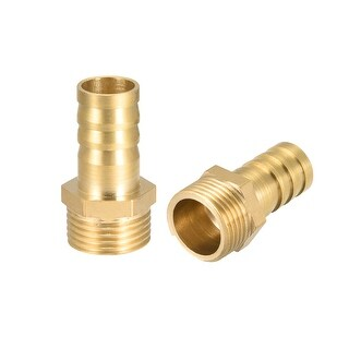 "Brass Barb Hose Fitting Connector Adapter 12 mm Barbed x 3/8"" G Male Pipe 2Pcs - 3/8"" G x 12mm"