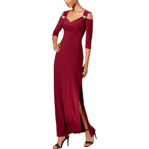 R&M Richards Womens Evening Dress Cold-Shoulder Special Occasion