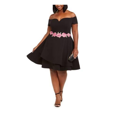 B DARLIN Black Cap Sleeve Knee Length Fit + Flare Dress Size 16W