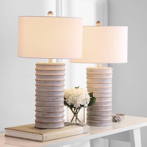 "SAFAVIEH Lighting Melina Grey LED Table Lamps (Set of 2) - 16""x16""x28.5"""