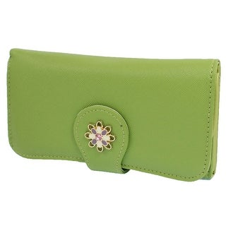 Unique Bargains Lady Woman Gift Lychee Print Folding Green Faux Leather Purse Holder Handbag