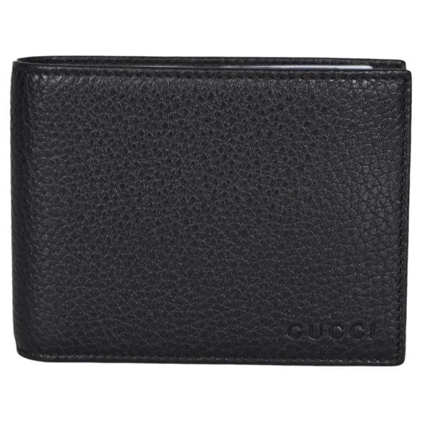 6d593606d650 Gucci Men's 333042 Black Textured Leather Logo Bifold Wallet  W/Removable