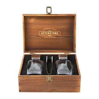 Atterstone 4-Piece Whiskey Box Set with Chilling Stones, Whiskey Glasses & Tongs