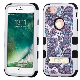 Insten Purple/ White European Flowers Tuff Hard PC/ Silicone Dual Layer Hybrid Case Cover with Stand For Apple iPhone 7