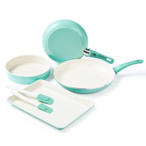 GreenLife Ceramic Non-Stick Cookware and Bakeware Set, Turquoise