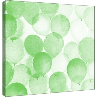 """PTM Images 9-101175  PTM Canvas Collection 12"""" x 12"""" - """"Airy Balloons in Green A"""" Giclee Celebrations Art Print on Canvas"""