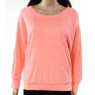 Splendid Coral Womens Split-Sleeve Pullover Sweater