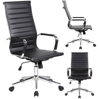 2xhome Designer High Back Leather Office Chair Ribbed PU Conference Room Black Executive Boss Swivel With Arms Wheels Seat
