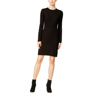 Calvin Klein Womens Sweaterdress Cable Knit Ribbed Trim