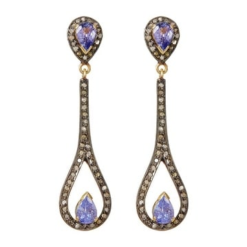 Sterling Silver Genuine Diamond and Tanzanite Long Earring