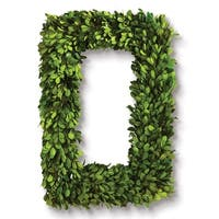 18' Green Yellow and Avocado Green Preserved Boxwood Rectangular Wreath