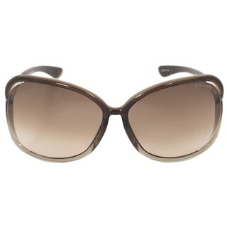 Tom Ford Ft0076-38F-63 Raquel Square Sunglasses Transparent Dark Brown Frame Brown Gradient Lens