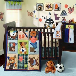 lambs ivy bow wow buddies 9 piece crib bedding set blue brown - Baby Boy Crib Bedding