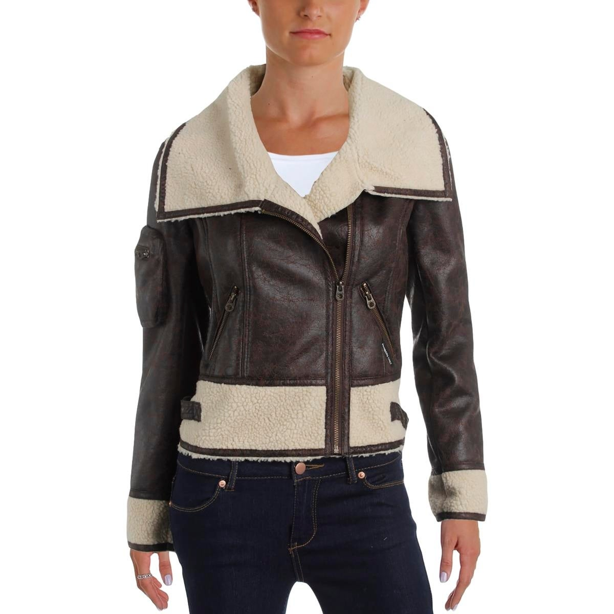 Members Only Womens Motorcycle Jacket Faux Fur Collar - Thumbnail 1