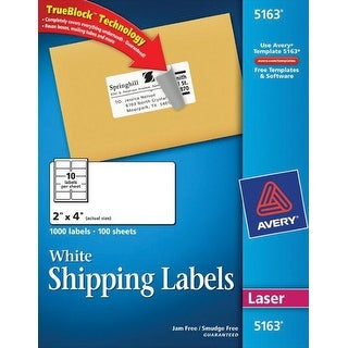 Avery Permanent-Adhesive Shipping Labels with TrueBlock Technology For Laser Printers, 2 x 4 in, White, Box of 1000