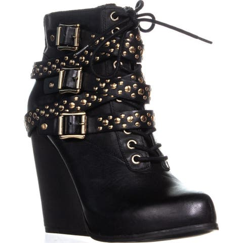 BCBGeneration Larissa Studded Strappy Wedge Lace Up Ankle Boots, Black
