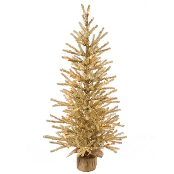 "24"" Champagne Gold Artificial Christmas Tree with Burlap Base - Clear Dura-Lit Lights"