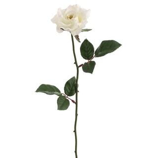 "Club Pack of 24 Artificial Single Cream Rose Silk Flower Sprays 23"" - White"