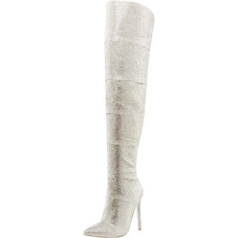 Steve Madden Womens Wonders Over-The-Knee Boots Rhinestone Pointed Toe