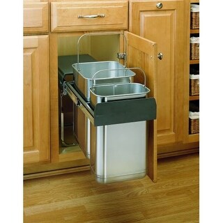 Rev-A-Shelf 8-785-30-2SS 8-785 Series Bottom Mount Double Bin Trash Can - 10.5 Quart and 21 Quart Bin Capacity