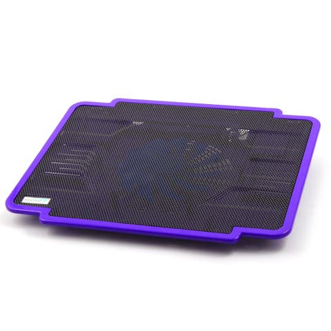 Metal Mesh LED Light Radiator Cooling Pad Purple w Cooling Fans for 14 Inch PC