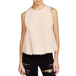 Kendall + Kylie Womens Crop Top Frayed Hem Pleated