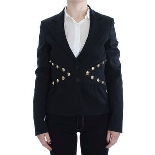 EXTE Black Cotton Stretch Gold Studded Blazer Jacket
